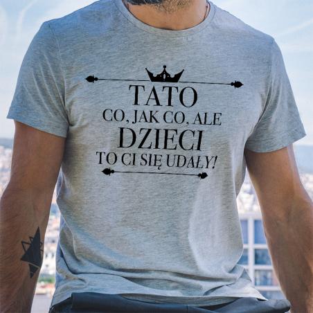 T-shirt oversize szary Tato co jak co dzieci ci się udały