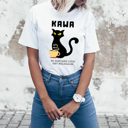 T-shirt lady slim DTG Kawa cat