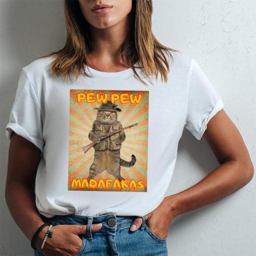 T-shirt lady slim DTG Pew Pew