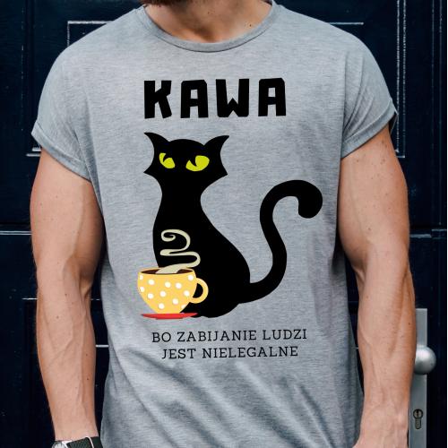 T-shirt oversize szary Kawa...