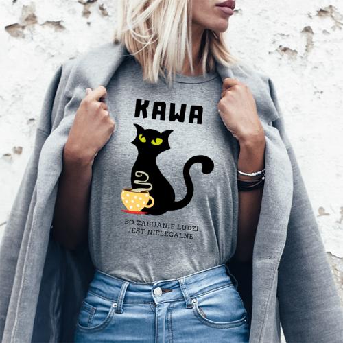 T-shirt Lady szary Kawa -...