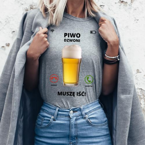 T-shirt Lady szary Piwo -...
