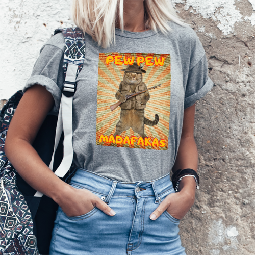 T-shirt Lady szary Pew! Pew!