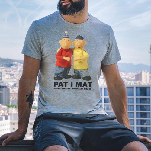 T-shirt oversize szary Pat...