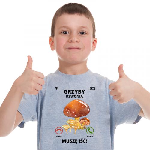 T-shirt Kids Szary   Grzyby...