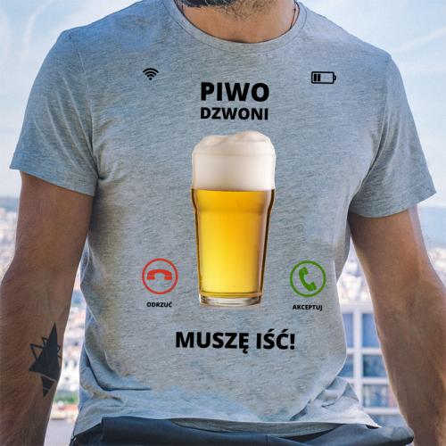 T-shirt oversize szara Piwo...