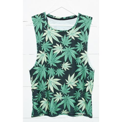 TOP open-sleeve druk BLACK WEED
